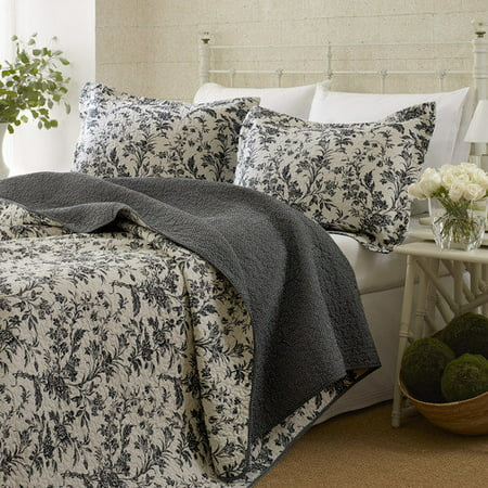 Laura Ashley  Amberley Black Floral Cotton 3-piece Quilt Set