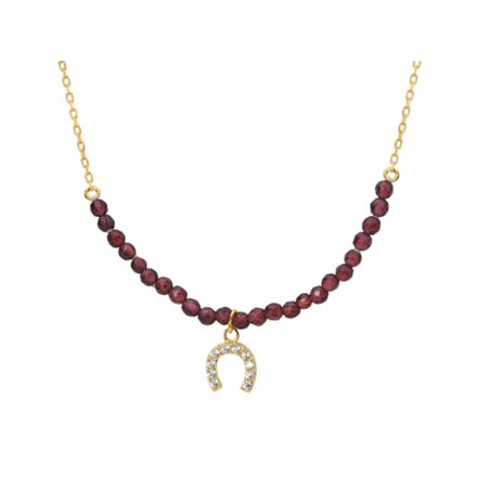 Silver Gold Plated Center Garnets Beads Cubic Zirconia Horseshoe Charm, 16 in. Plus 2 in.