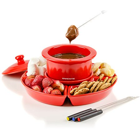 Ovente 1 Liter Electric Chocolate or Cheese Fondue Melting Pot and Warmer Set, Ceramic Party Serving Tray, Includes 4 Dipping Forks, Red (CFC317R) Ceramic Chocolate Fondue Pot