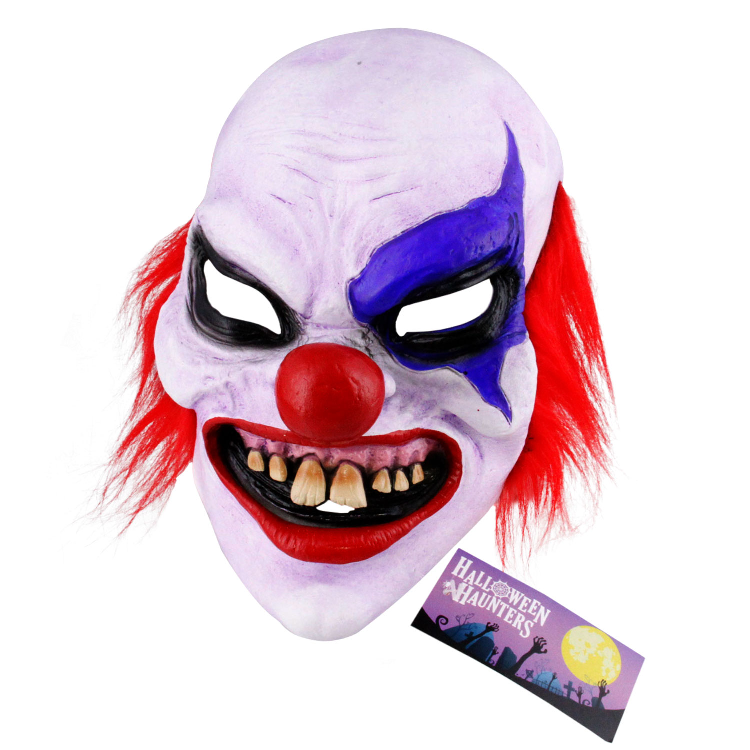 Halloween Haunters Scary Evil Latex Clown Mask - Creepy Face & Grin, Costume Party Prop