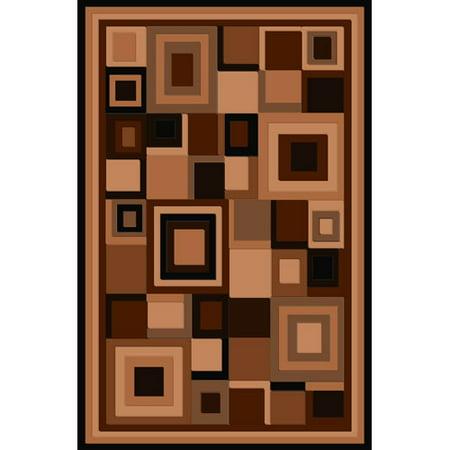 Terra Matrix Woven Olefin Square Area Rug, Chocolate/Tan