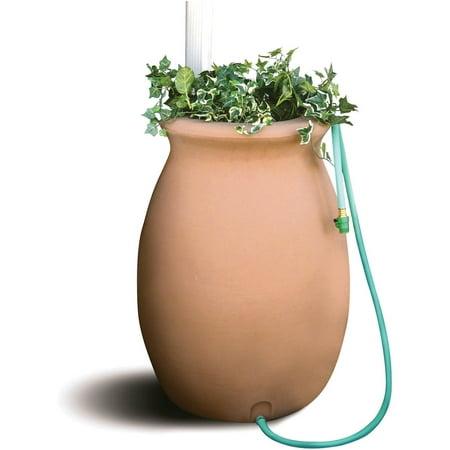 Image of Algreen 50 Gallon Barrel with 4' Garden Hose, Terra Cotta