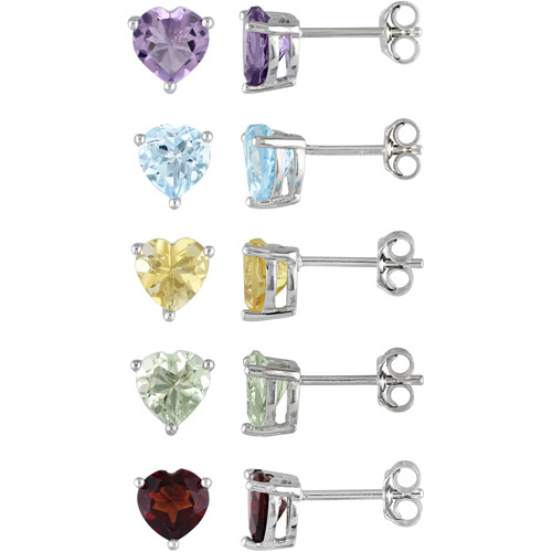 8-1/4 Carat T.G.W. Multi-Colored Solitaire Sterling Silver Heart Stud Earrings, Set of 5 Pairs