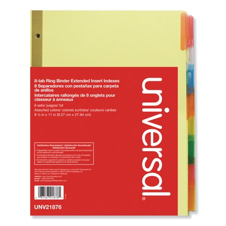 Universal Extended Insert Indexes Assorted Color 8-Tab, Letter, Buff, 6 Sets/Box 21876