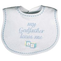 "Baby Boys ""My Godfather Loves Me"" Embroidered Bib, Blue"