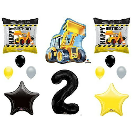 2nd birthday construction balloons decoration supplies party boy dump truck bulldozer second - Car Birthday Supplies