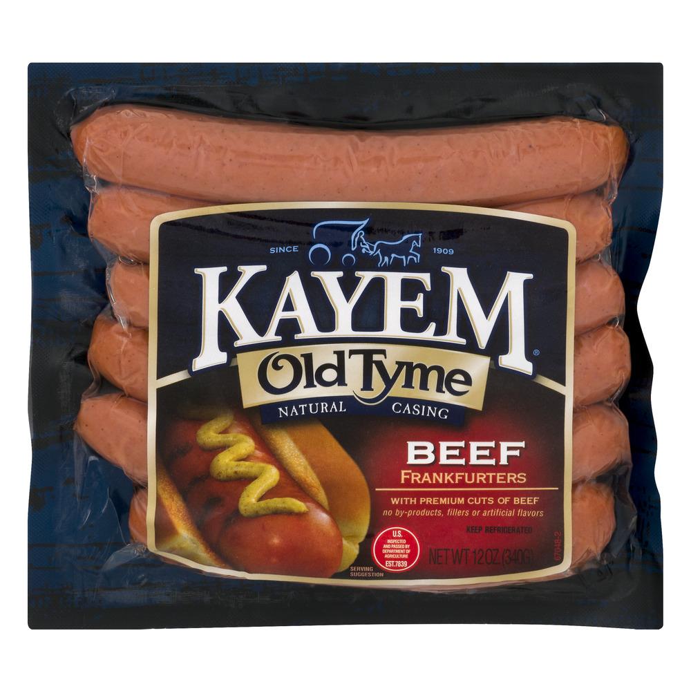 Kayem Old Tyme Natural Casing Frankfurters Beef, 12.0 OZ