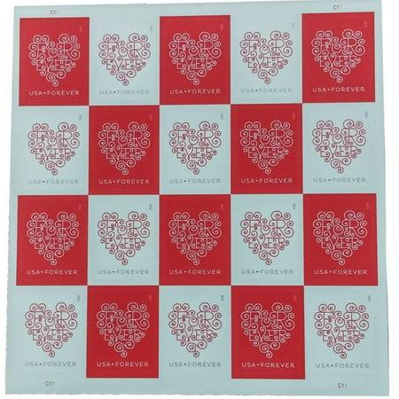 Forever Heart Sheet of 20 USPS Forever Postage Stamps Love Valentine