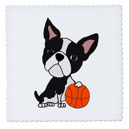 3dRose Funny Cute Boston Terrier Dog Playing Basketball Cartoon - Quilt Square, 8 by 8-inch ()