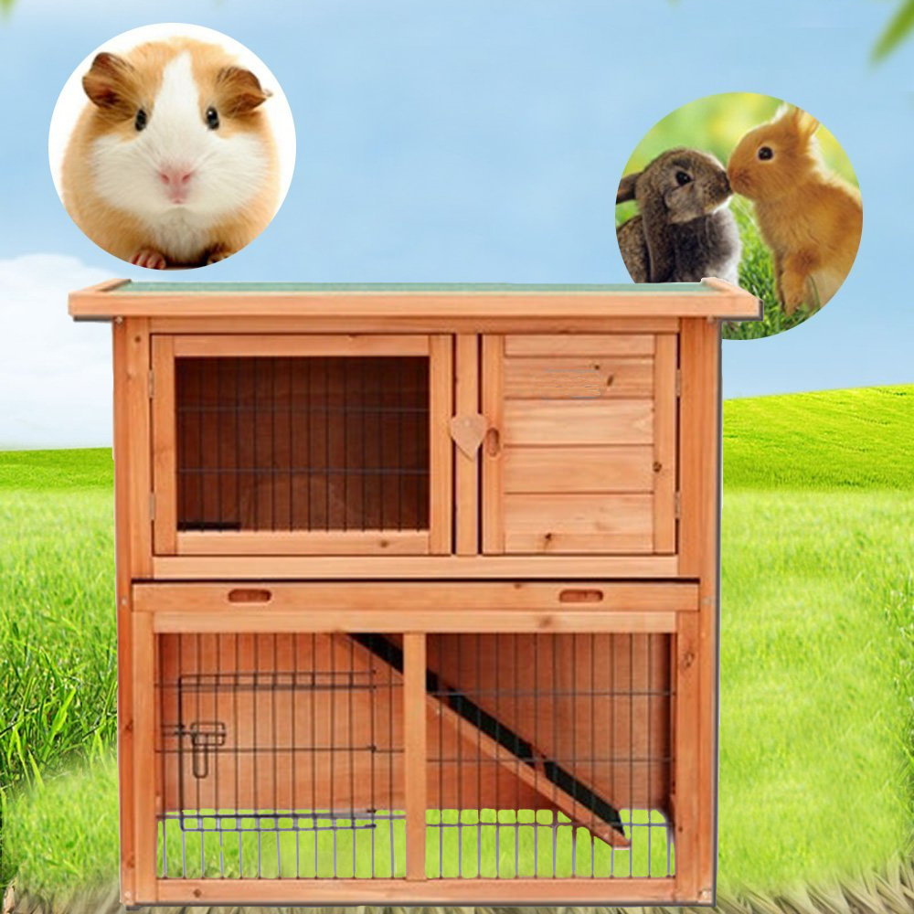 "Zimtown 36"" 2 Tier Wooden Rabbit Hutch Bunny Guinea Pig Cage Small Animal House Pet Cage Chicken Coop"
