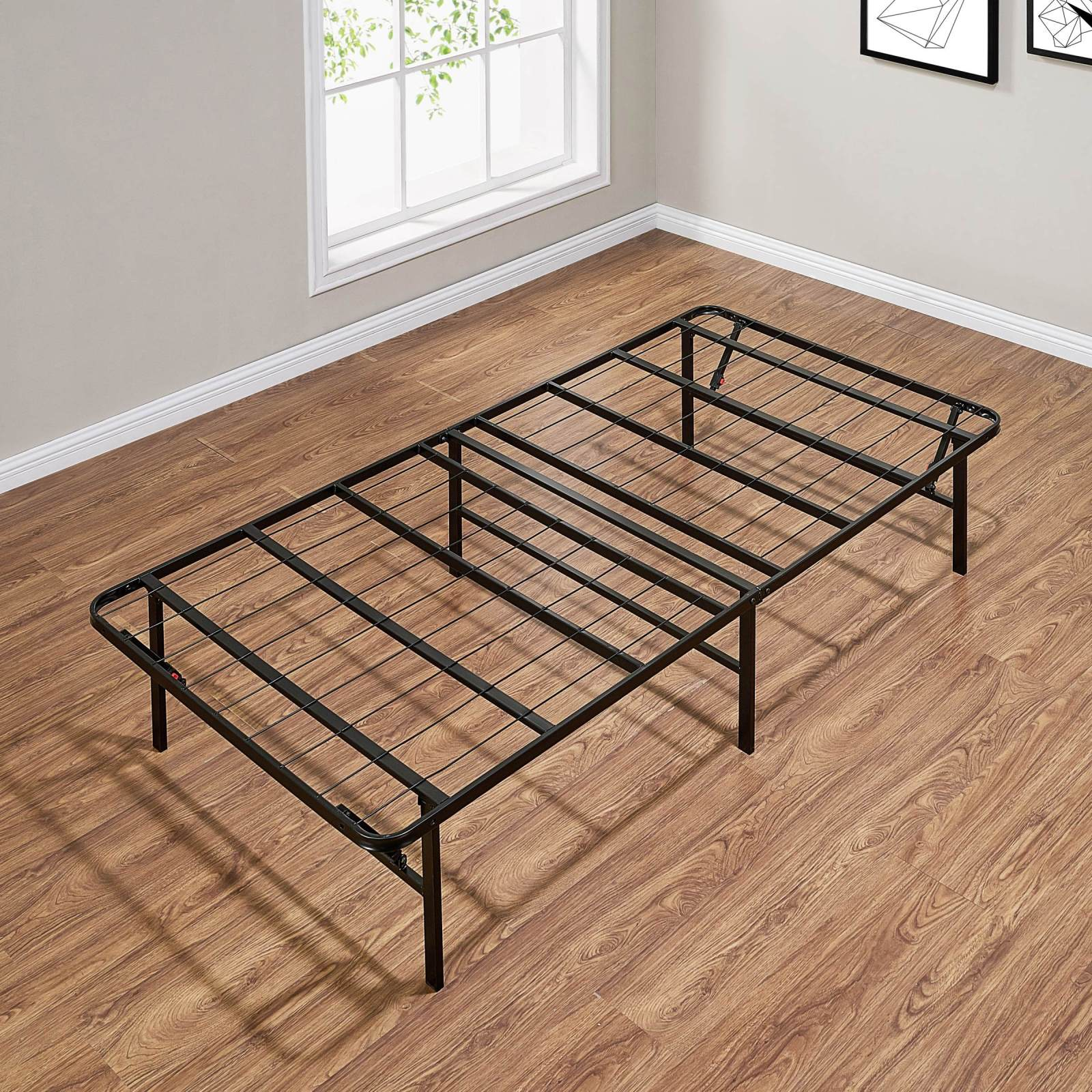 Mainstays 14 High Profile Foldable Steel Bed Frame Powder Coated Steel Twin Walmart Com