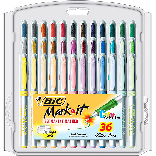 BIC Mark-It Color Collection Permanent Marker, Ultrafine, Assorted Colors, 36-Pack
