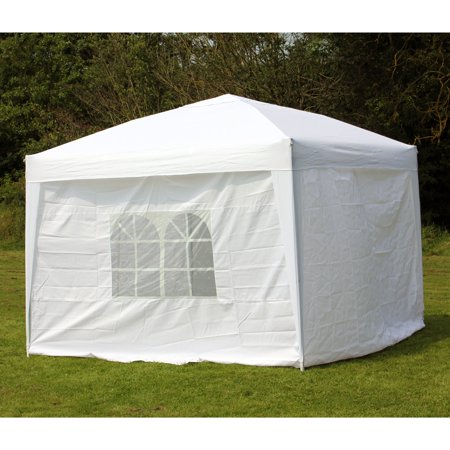 timeless design 134ae ad370 10 x 10 PALM SPRINGS EZ POP UP WHITE CANOPY GAZEBO TENT WITH 4 SIDE WALLS  NEW