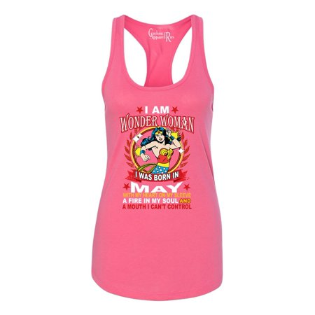 Wonder Woman Born In May Superhero Womans Racerback Tank Top