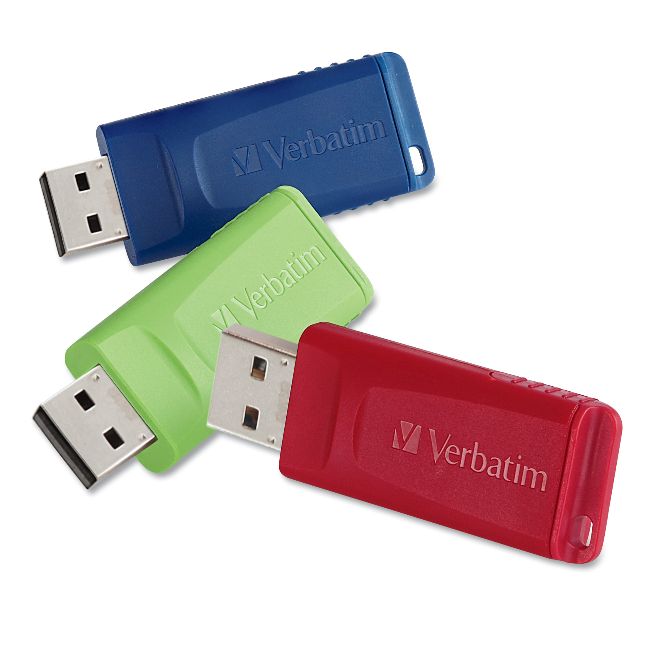 Verbatim Store 'n' Go USB 2.0 Flash Drive, 8GB, Blue/Green/Red, 3/Pack -VER98703