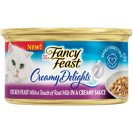 (24 Pack) Fancy Feast Creamy Delights Grilled Chicken Feast with a Touch of Real Milk in a Creamy Sauce Wet Cat Food, 3 oz. Cans