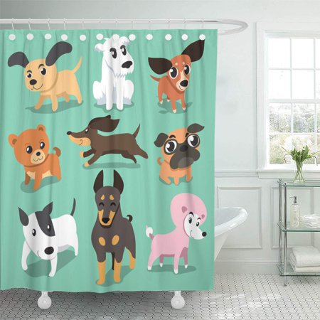 KSADK Pom Cartoon Dogs Pug Collection Cute Puppy Group Doberman Pedigree Shower Curtain Bath Curtain 66x72 inch - Pom Puppies