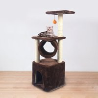 "Topcobe 36"" Multi-Level Cat Activity Tree, Cute Sisal Play House Climber Activity Centre Tower Stand Furniture with Scratching Posts Dangling Ball, Suit for Cats Pet, Leopard Print"