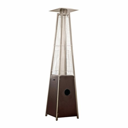 AZ Patio Tall Outdoor Triangle Glass Tube Liquid Propane Heater, Hammered - Gas Freestanding Portable Patio Heater