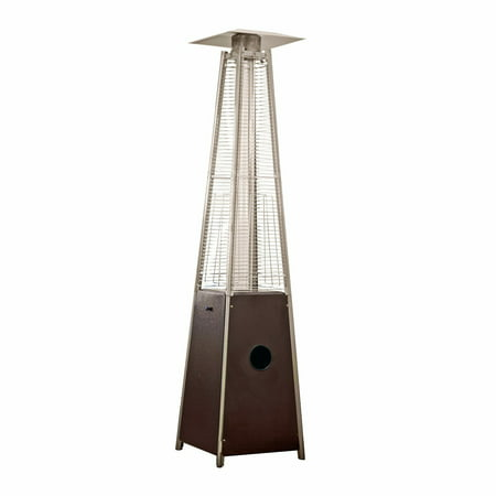 AZ Patio Tall Outdoor Triangle Glass Tube Liquid Propane Heater, Hammered Bronze ()