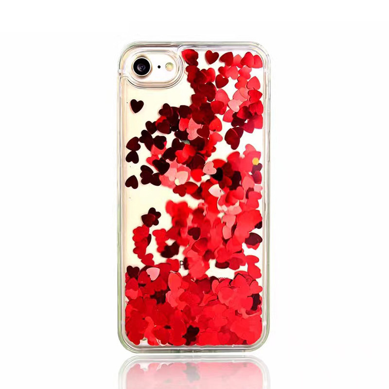 For iPhone 5 5s SE 6 6s 6 PLUS 6s PLUS 7 7 PLUS Floating Red Hearts Liquid Waterfall Bling Glitter Case