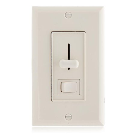 Maxxima 3-Way / Single Pole Dimmer Light Switch 600 Watt, LED Compatible, Wall Plate Included, Almond