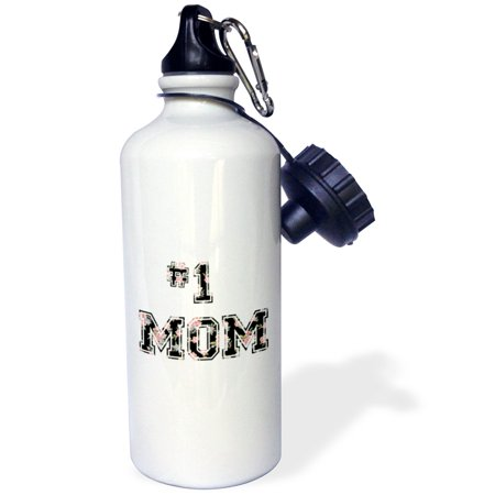 3dRose #1 Mom - Number One Mom in black and pink floral print for worlds greatest and best Mothers day, Sports Water Bottle, 21oz