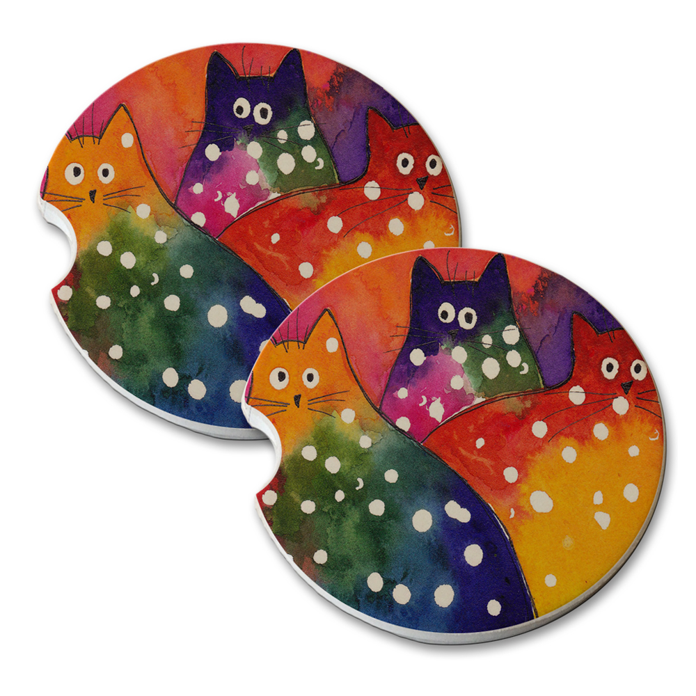 KuzmarK Sandstone Car Drink Coaster (set of 2) - Two-Toned Polka-Dot Chunky Kitties Abstract Cat Art by Denise Every