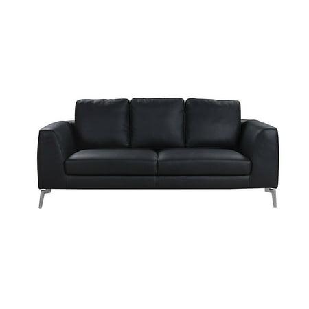 Black Mid-Century Modern Plush Leather Sofa