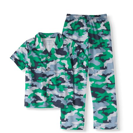 Button Cami (Boys' Camo Print Button-Up 2-Piece Pajama Sleep Set (Big Boys & Little)