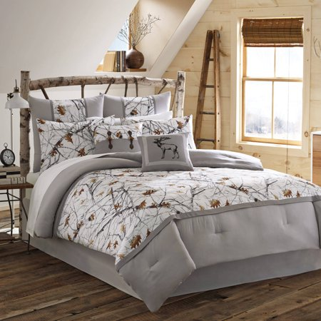 True Timber Pieced Stripe Bedding Comforter Set, Brown, Full