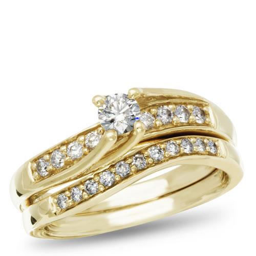 Calista Collection, 14K Yellow Gold Round I2 Diamond Bridal Set, 1/2 ctw