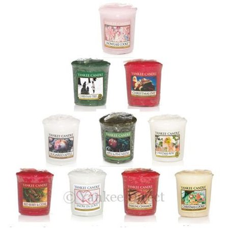 - Christmas Holiday Votive Samplers- Set of 10 - Includes Free Votive Holder! By Yankee Candle