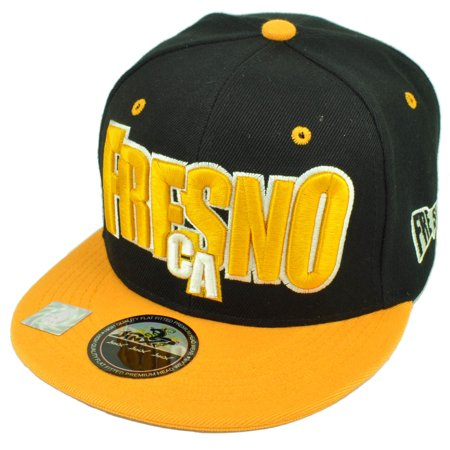 Fresno City Town California Cali CA Black Yellow Snapback Flat Bill Hat Cap