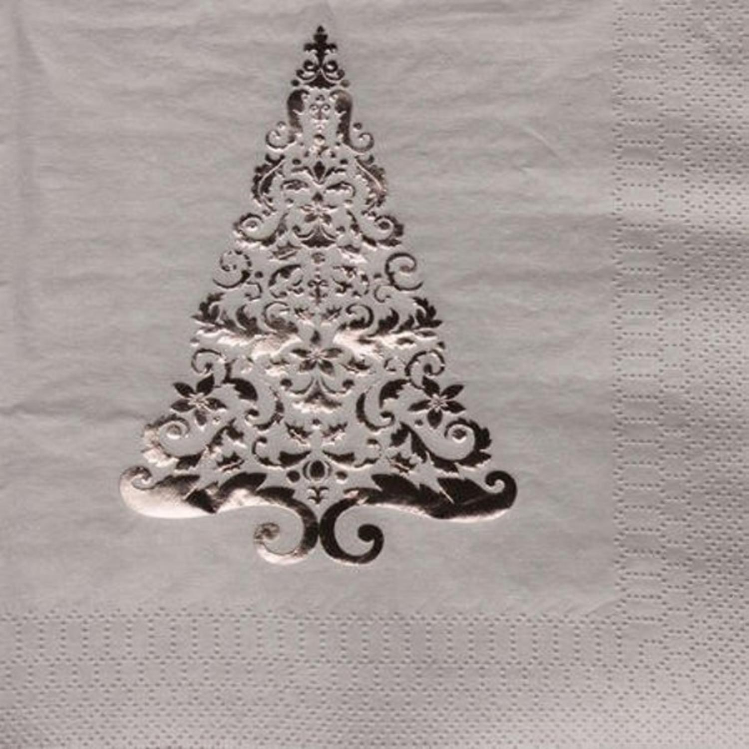 Pack of 192 Silver Glitz Foil Stamp Christmas Tree 3-Ply Party Beverage Napkins