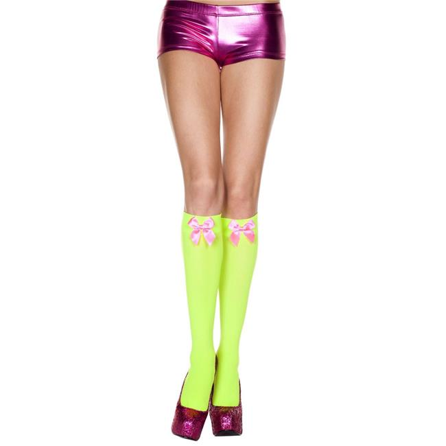 Music Legs 5722-NGREEN-HPINK Satin Bow Knee High Socks, Neon Green & Hot Pink - image 1 of 1