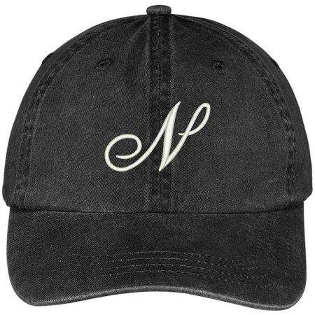 Trendy Apparel Shop Letter N Script Monogram Font Embroidered Washed Cotton Cap - Monogram Script Font