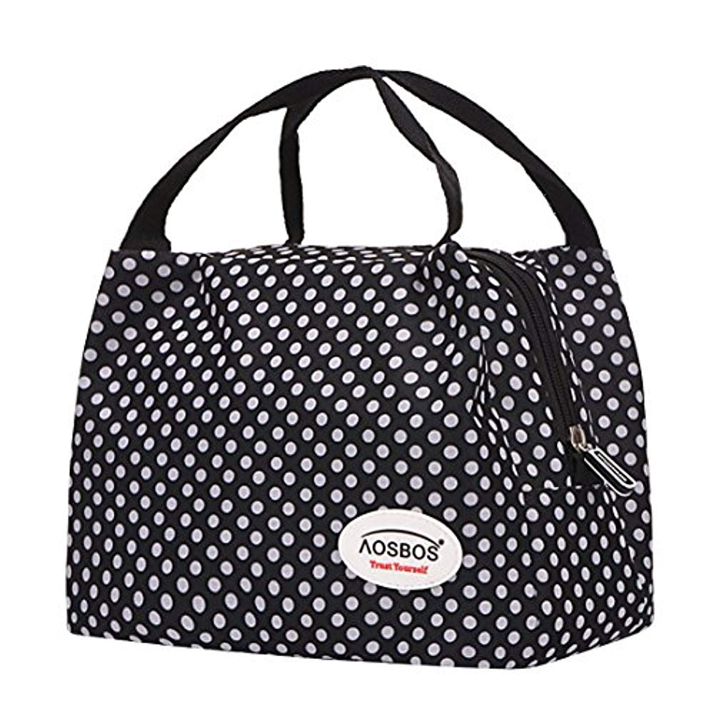 Squad Marketing Reusable Insulated Lunch Box Tote New Bag (Polka Dots Plus Size)