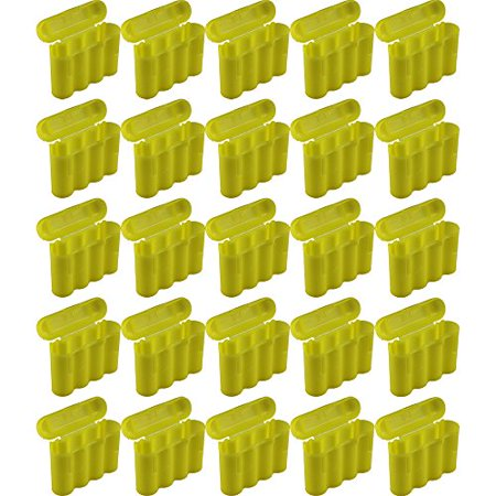 25 Brand New AA / AAA / CR123A Yellow Battery Holder Storage Cases (Aaa Battery Case)