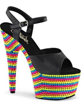 ed33e8d619da Product Image Womens Multi Color Shoes UV Reactive Platform Sandals Black  Light 7 Inch Heels