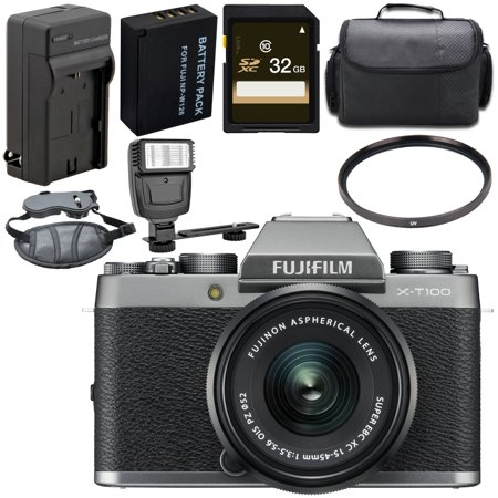 Fujifilm X-T100 Mirrorless Digital Camera with 15-45mm Lens (Dark Silver) 16582593 + 52mm UV Filter + Carrying Case + Universal Slave Flash unit + Hand Strap Bundle Brown Silver Flash Lens