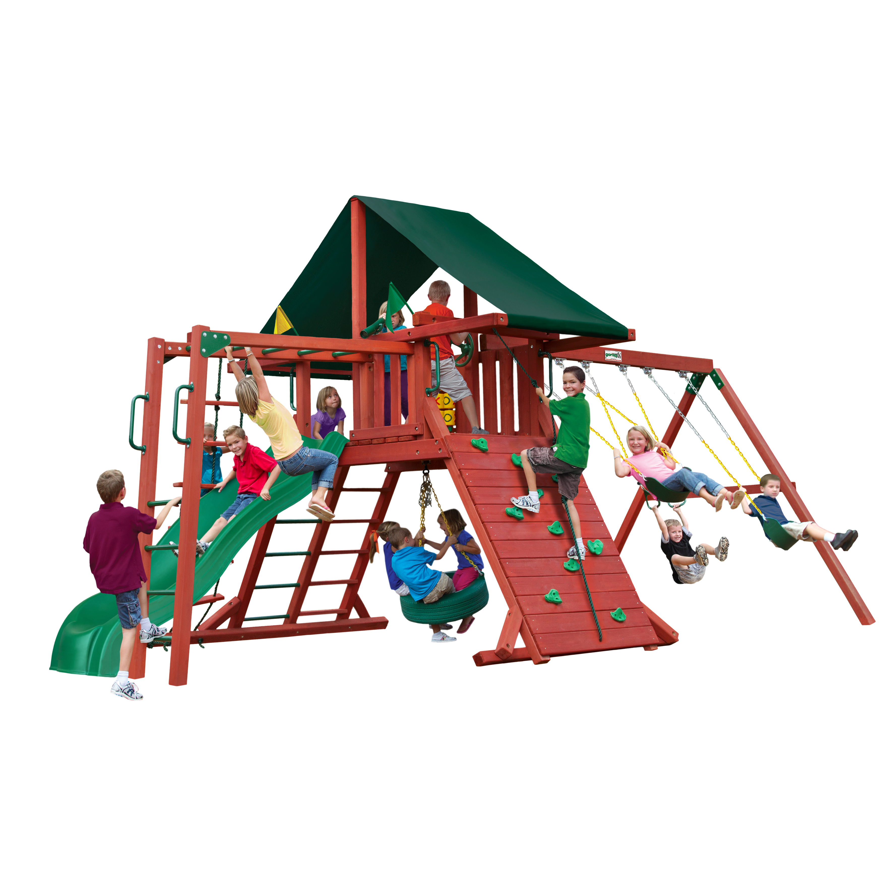 Gorilla Playsets Sun Climber II Wooden Swing Set with Sunbrella® Canvas Canopy, Tire Swing, and Monkey Bars