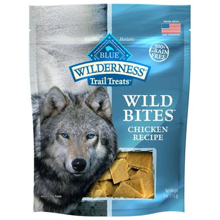 Blue Buffalo Wilderness Trail Treats Wild Bites Grain Free Soft-Moist Dog Treats, Chicken, 4-oz