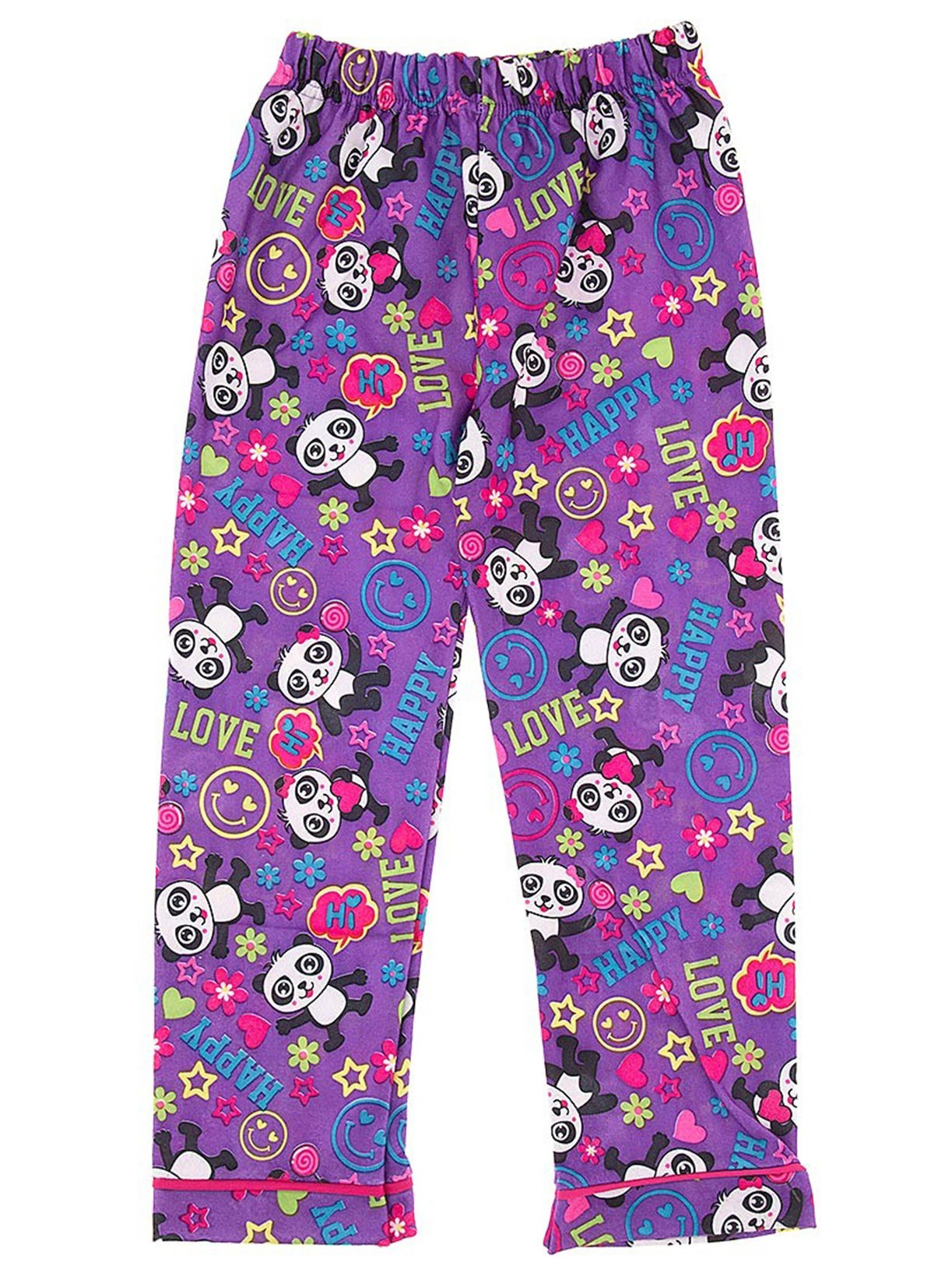 Purple Panda Pajama Pants for Girls
