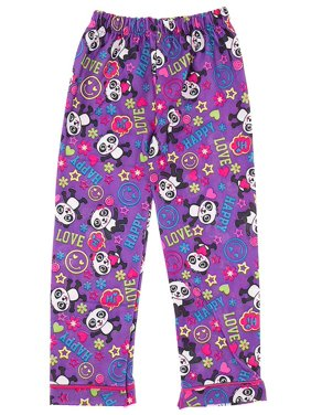 Purple Panda Pajama Pants for Girls