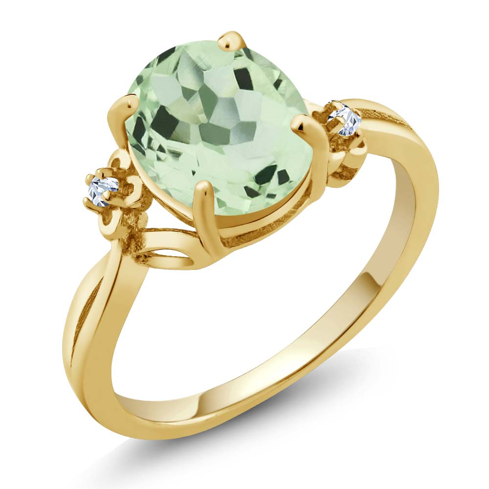 2.67 Ct Oval Green Amethyst Yellow Gold Plated Sterling Silver Ring