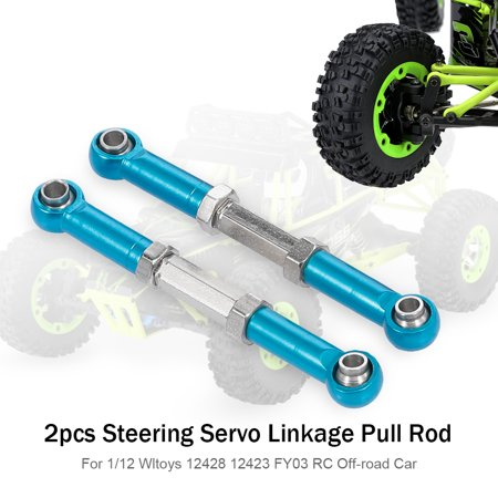 2pcs Steering Servo Linkage Pull Rod Metal for 1/12 Wltoys 12428 12423 FY03 Hopup Parts RC Off-road Car Crawler