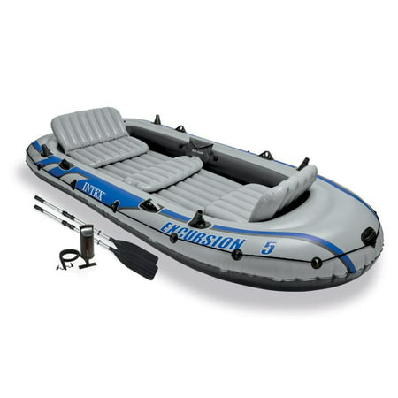 Intex Excursion 5 Person Inflatable Rafting and Fishing Boat Set with 2