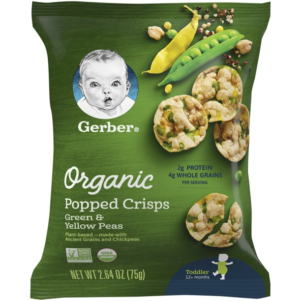 Gerber Organic Popped Crisps, Green & Yellow Peas, 2.64 oz Bag