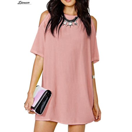 Spencer Plus Size Off Shoulder Chiffon Beach Dress for Women Cut Out Shoulder Trumpet Dress Top (Pink,2XL)